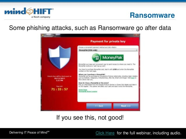 Delivering IT Peace of MindSM Ransomware Some phishing attacks, such as Ransomware go after data If you see this, not good...