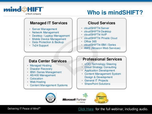 Delivering IT Peace of MindSM Who is mindSHIFT? • vCIO Technology Steering • Cloud Strategy Consulting • Application Devel...