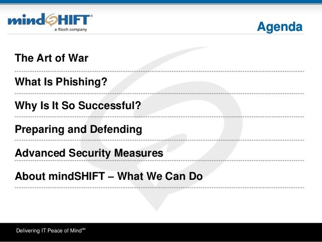Delivering IT Peace of MindSM Agenda The Art of War What Is Phishing? Why Is It So Successful? Preparing and Defending Adv...
