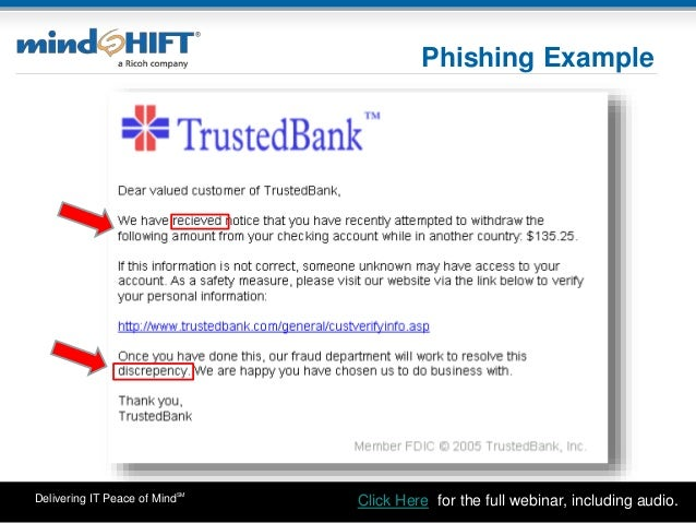 Delivering IT Peace of MindSM Phishing Example Click Here: for the full webinar, including audio.