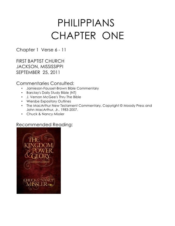 PHILIPPIANS                   CHAPTER ONEChapter 1 Verse 6 - 11FIRST BAPTIST CHURCHJACKSON, MISSISSIPPISEPTEMBER 25, 2011C...