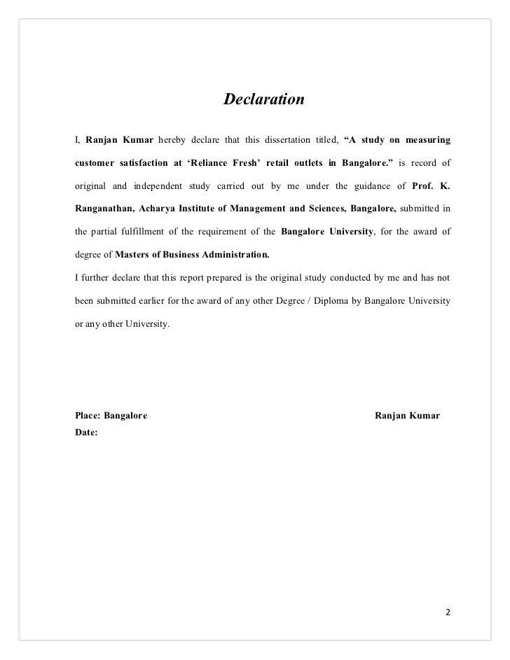 declaration for undergraduate thesis
