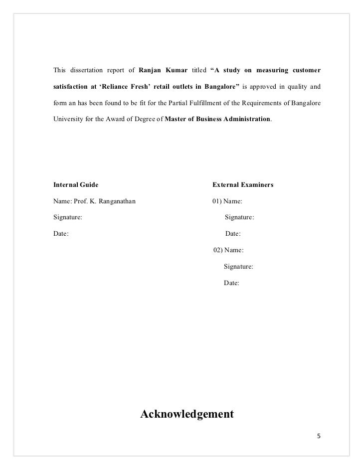 Dissertation report on customer satisfaction