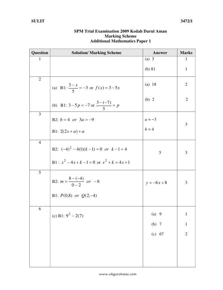 Spm 2006 Additional Mathematics Paper 2 Answer