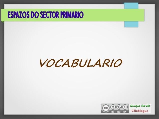 ESPAZOS DO SECTOR PRIMARIO VOCABULARIO