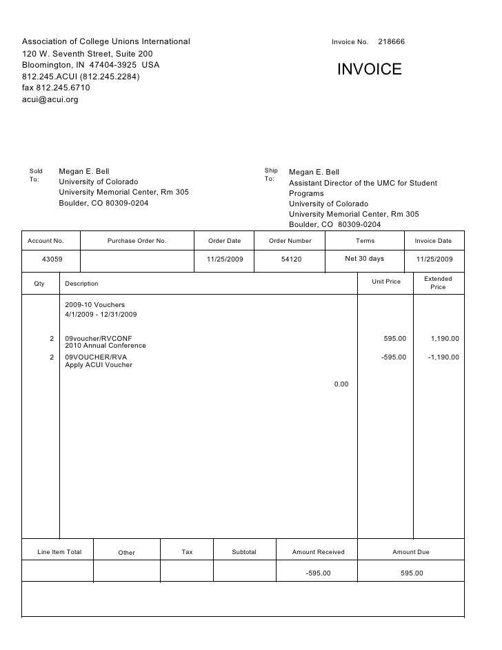 Association of College Unions International                                                        Invoice No.     218666 ...