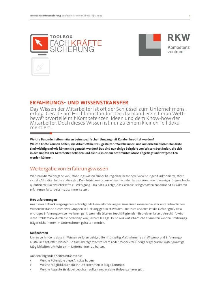 Toolbox Fachkräftesicherung: Leitfaden für Personalbedarfsplanung                                                1Erfahr...