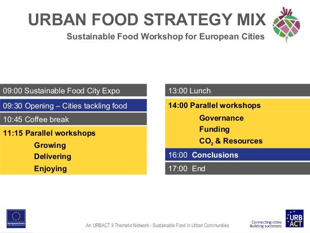 URBAN FOOD STRATEGY MIX Sustainable Food Workshop for European Cities  09:00 Sustainable Food City Expo  13:00 Lunch  09:3...