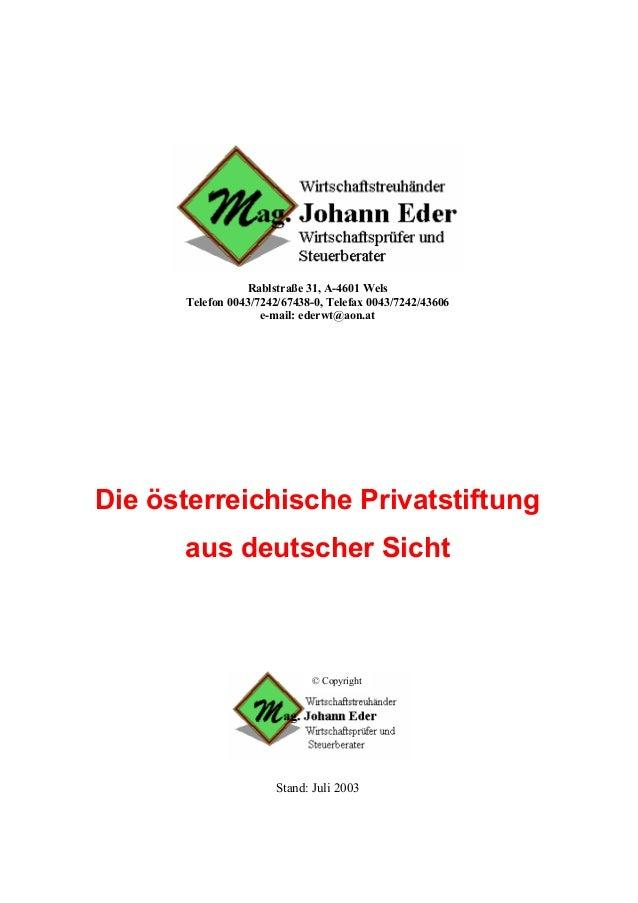 Rablstraße 31, A-4601 Wels      Telefon 0043/7242/67438-0, Telefax 0043/7242/43606                    e-mail: ederwt@aon.a...