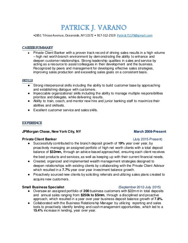 Private Client Banker Resume From Nyc
