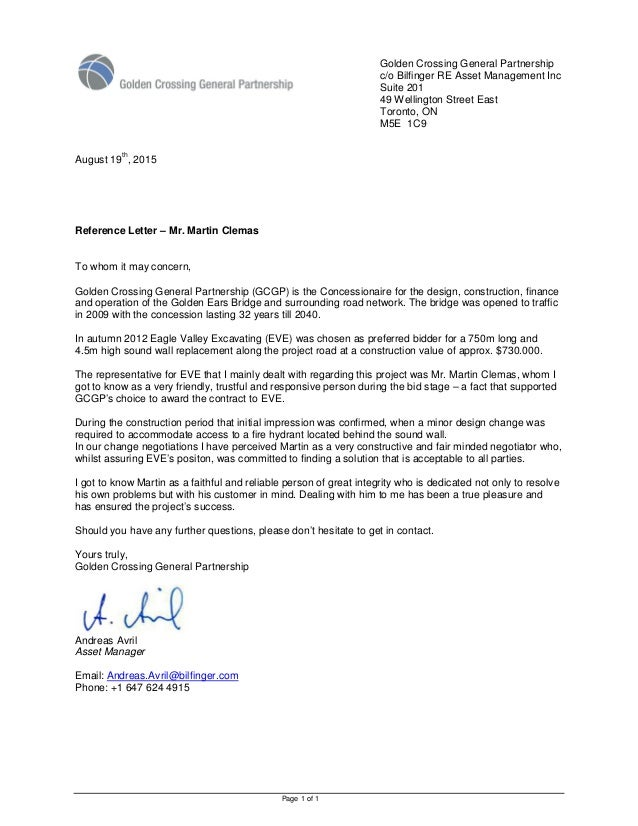 Page 1 of 1 Golden Crossing General Partnership c/o Bilfinger RE Asset Management Inc Suite 201 49 Wellington Street East ...