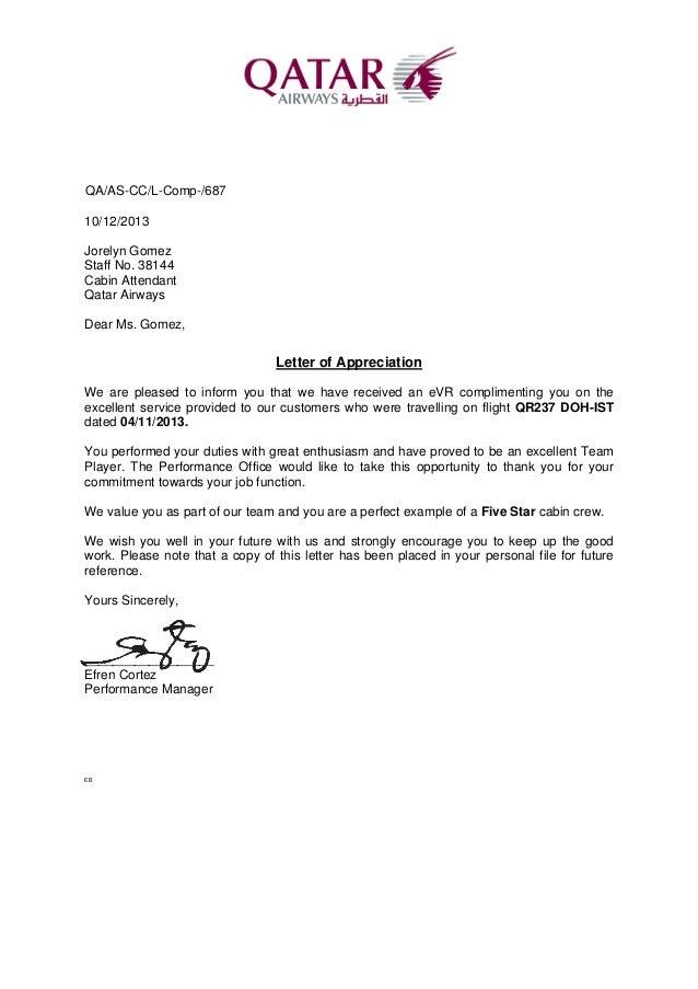 Letter Of Appreciation 2013Nov04. QA/AS CC/L Comp /687 10/12/