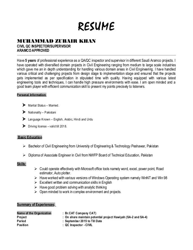 Quality Inspector Resume