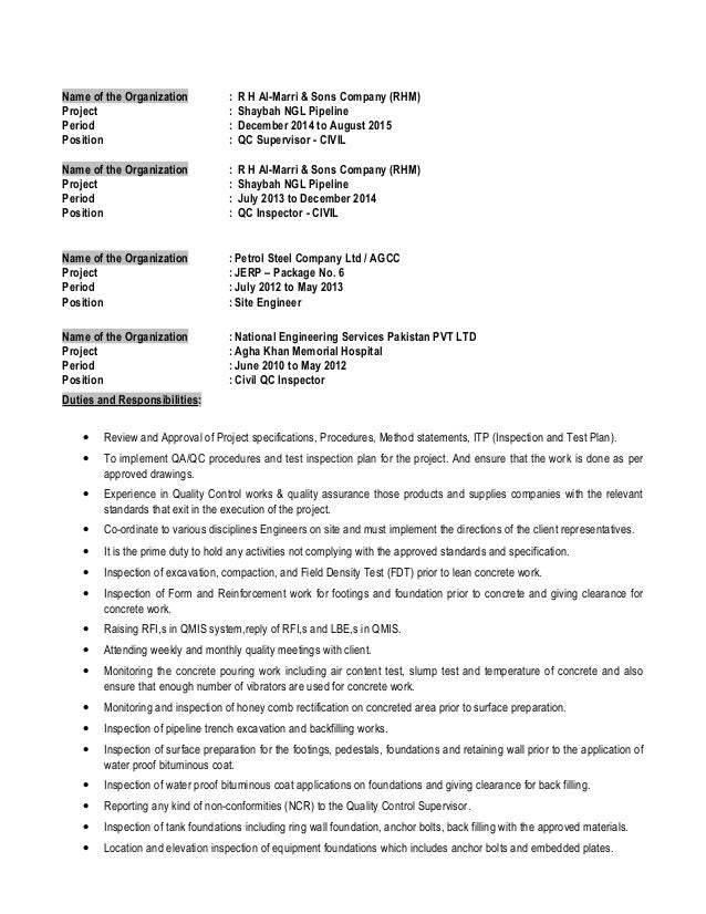 qc inspector civil 2 - Quality Control Supervisor Resume