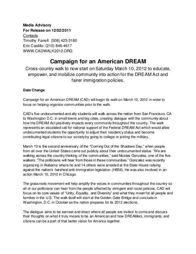 Media Advisory For Release on 12/02/2011 Contacts Timothy Farrell: (508) 423-3180 Eric Castillo: (210) 846-4617 WWW.CADWAL...
