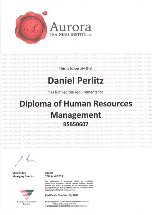 2013 Diploma of Human Resources Management