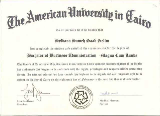 Wonderful American University In Cairo Bachelor Degree Graduation Certificate