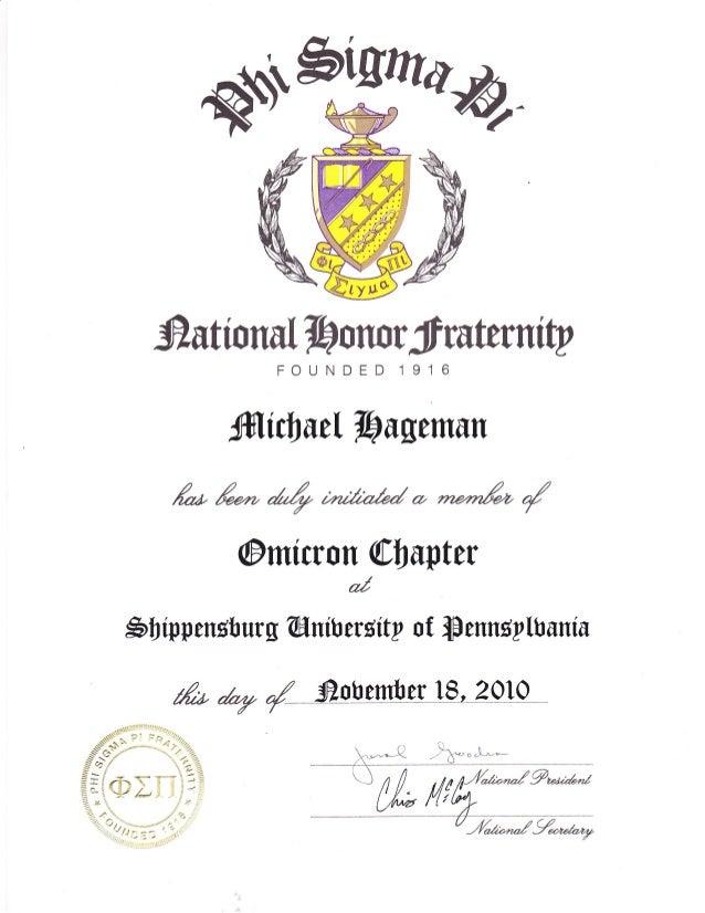 Phi Sigma Pi Membership Certificate
