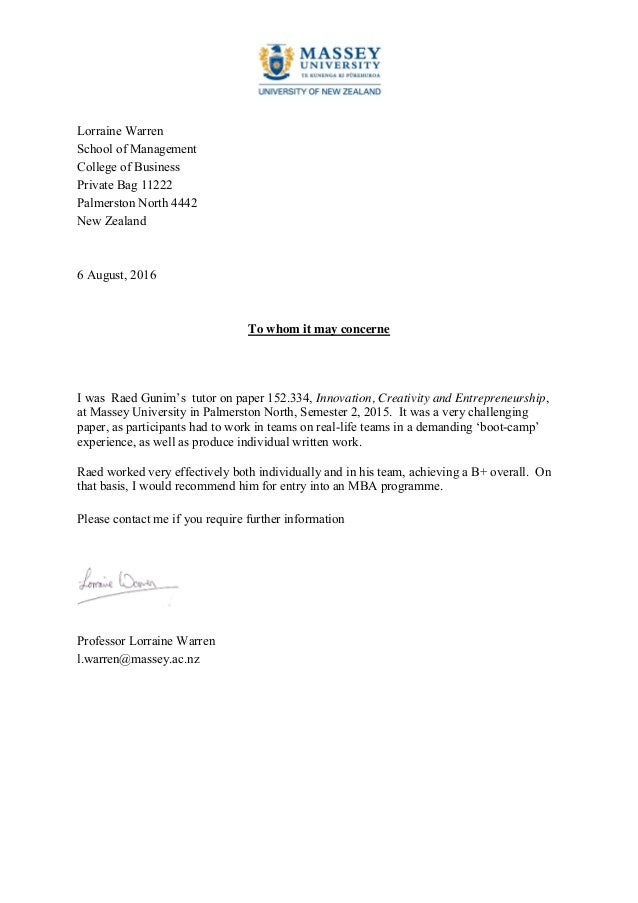 Lorraine Warren School of Management College of Business Private Bag 11222 Palmerston North 4442 New Zealand 6 August, 201...