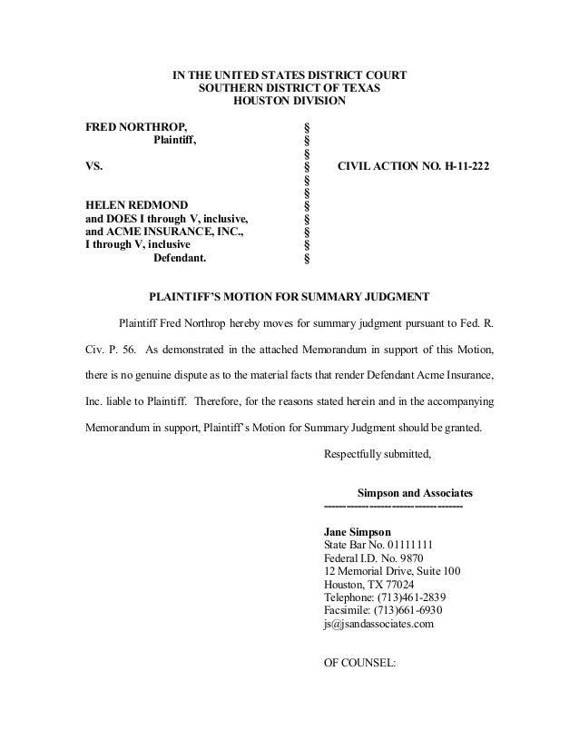 Alistair Jones Motion For Summary Judgment