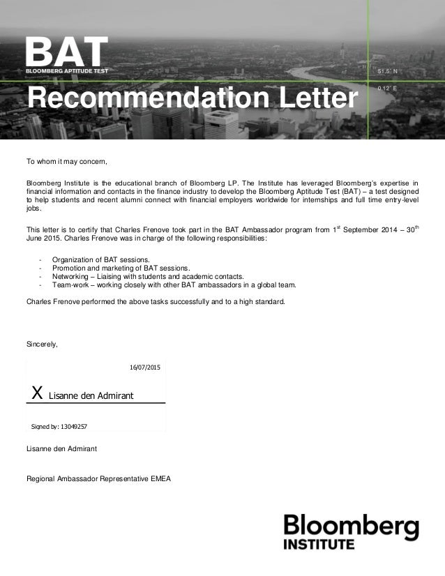 Bloomberg Lp Recommendation Letter