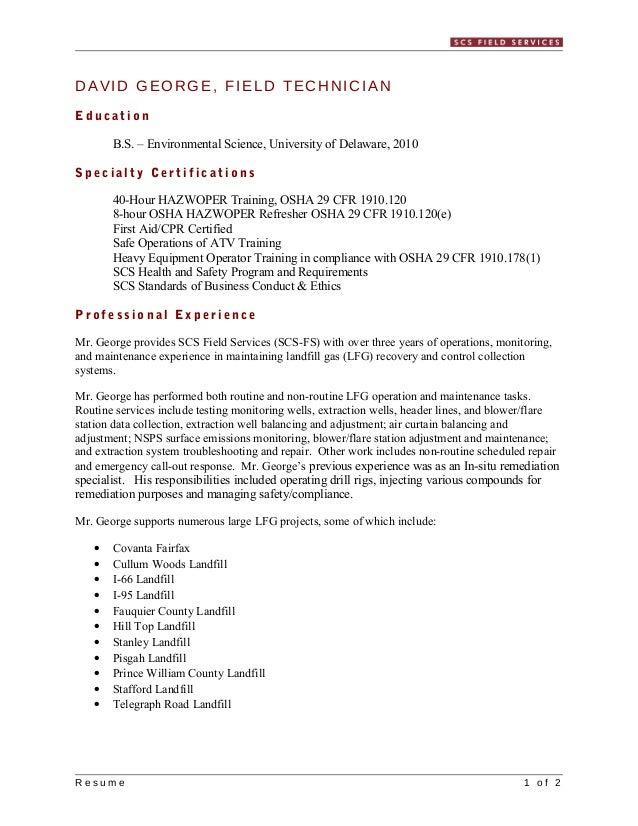 Master Resume George D 2013