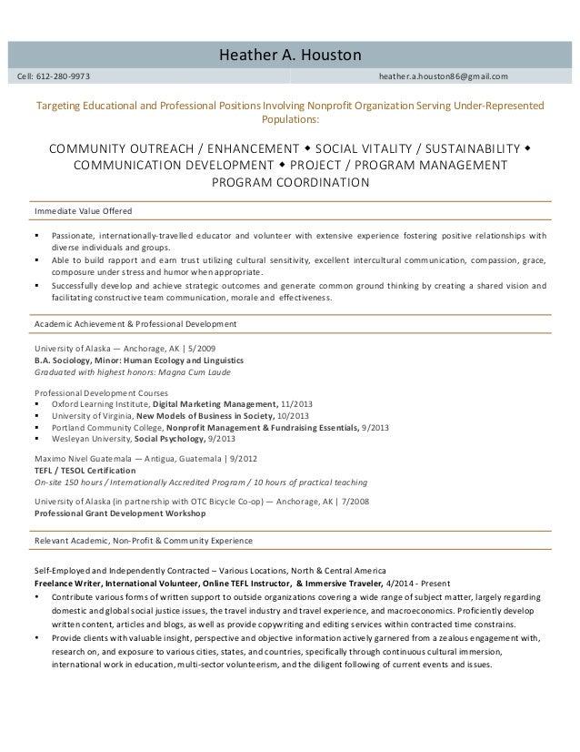 Resume Heather Houston Graduate Mnm Application