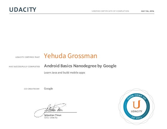 Certificate for Udacity Android Basics Nanodegree by Google