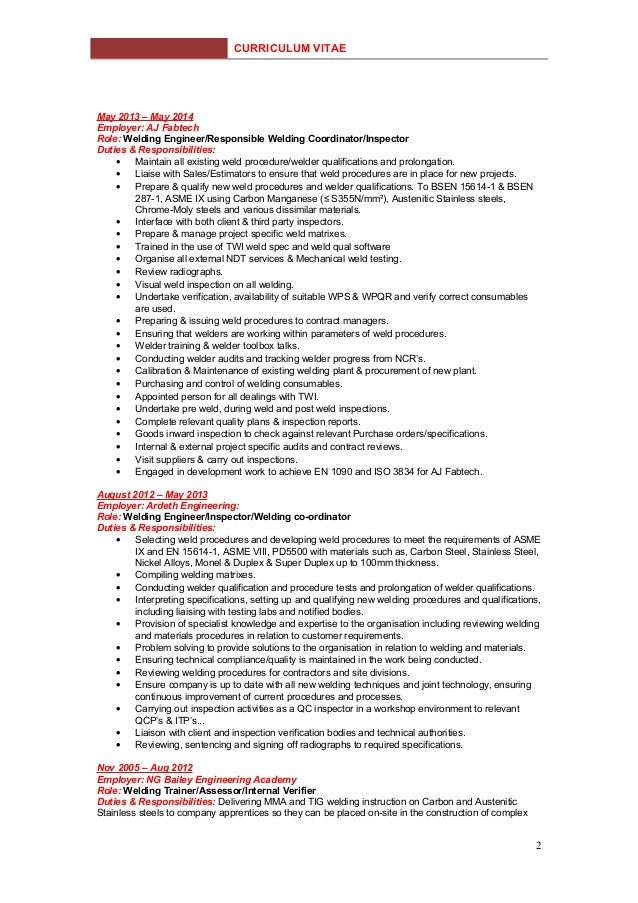 Duties & Responsibilities; Full Welding Curriculum Vitae