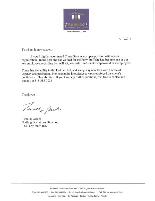 Recommendation Letter Party Staff – Job Recommendation Letter
