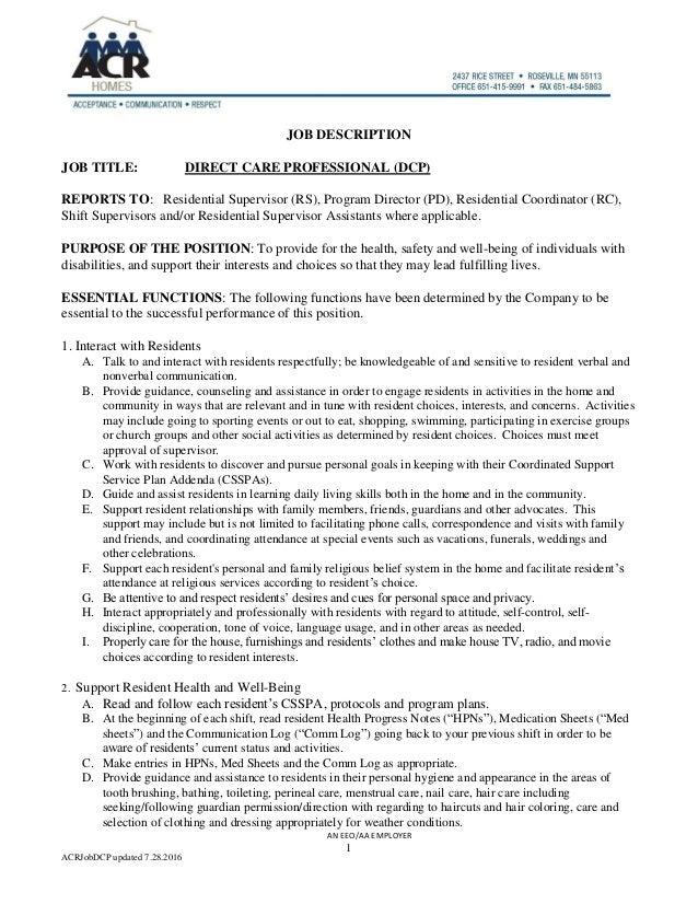 acrjobdcp updated 7282016 1 job description job title direct care professional dcp - Direct Care Job Description