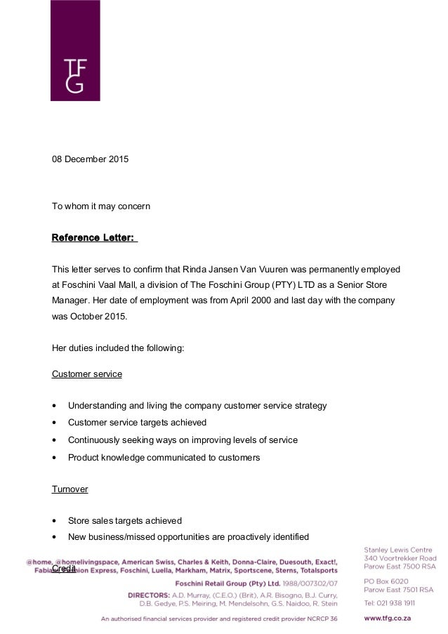 Reference Letter Of Confirmation Of Employment