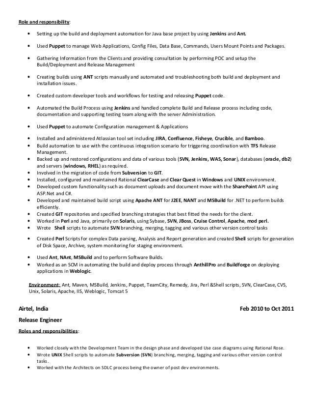 build and release engineer 4 - Build And Release Engineer Resume