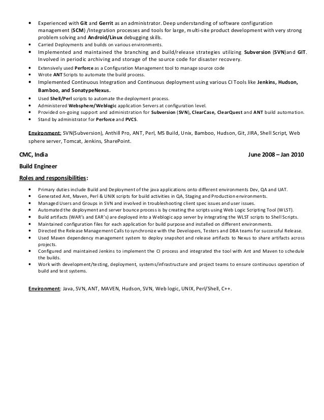 5 - Build And Release Engineer Resume