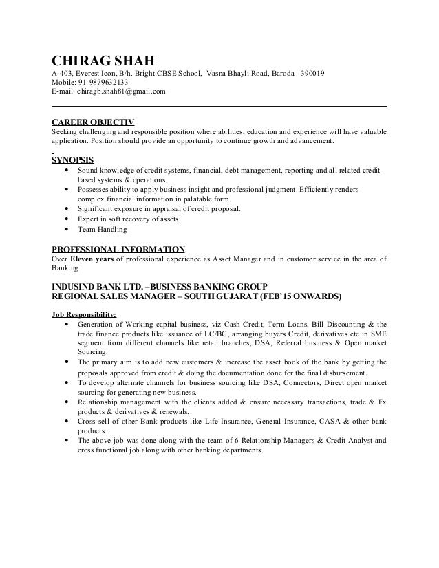 Chirag Shah commercial Resume