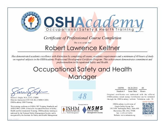 Hse Manager Certification