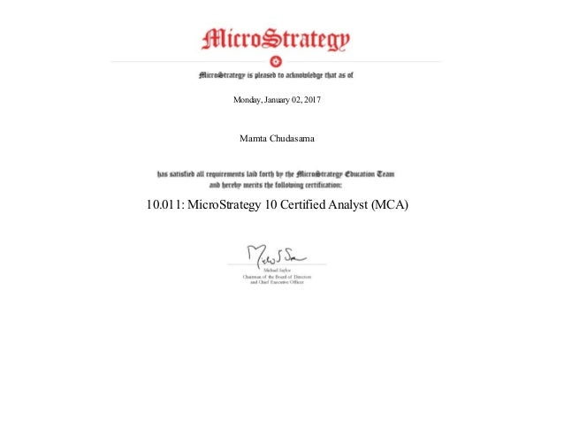 10.011-MicroStrategy 10 Certified Analyst (MCA)