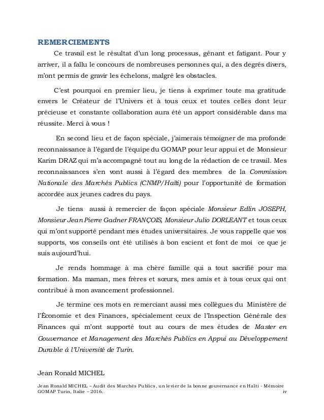 Jean Ronald MICHEL – Audit des Marchés Publics, un levier de la bonne gouvernance en Haïti - Mémoire GOMAP Turin, Italie –...
