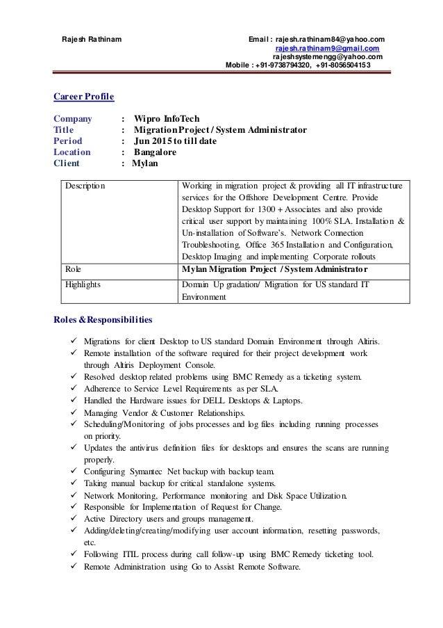 Rajesh Update Resume in wipro