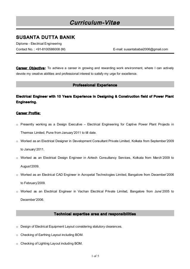 Curriculum-Vitae SUSANTA DUTTA BANIK Diploma - Electrical Engineering Contact No. : +91-8100586008 (M) E-mail: susantababa...