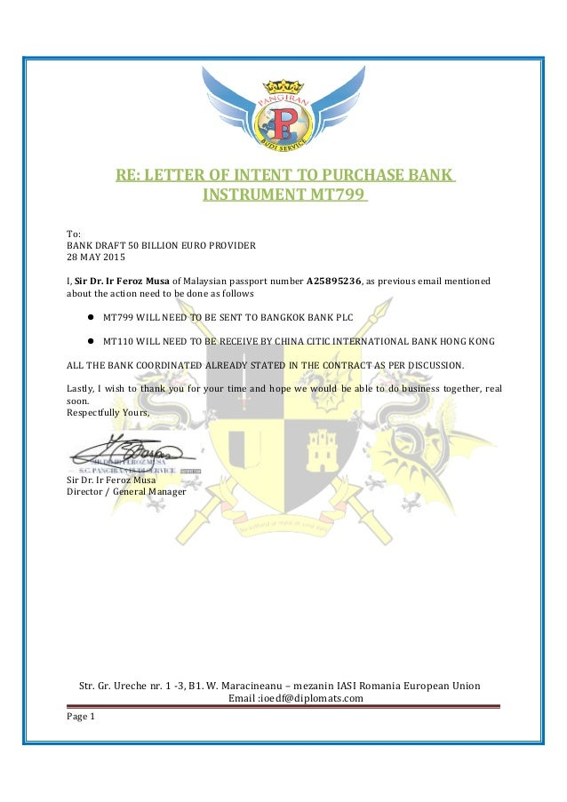 BD50B EURO LETTER – Letter of Intent to Do Business Together