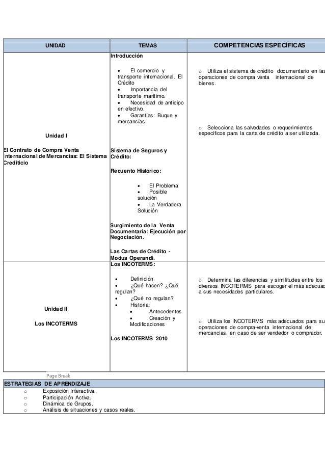 UNIDAD TEMAS COMPETENCIAS ESPECÍFICAS Unidad I El Contrato de Compra Venta Internacional de Mercancías: El Sistema Crediti...