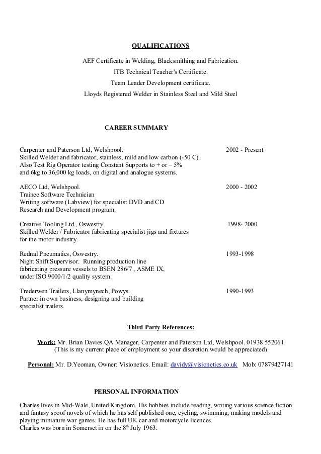 Welder Fabricator Cv .  Welder Resume