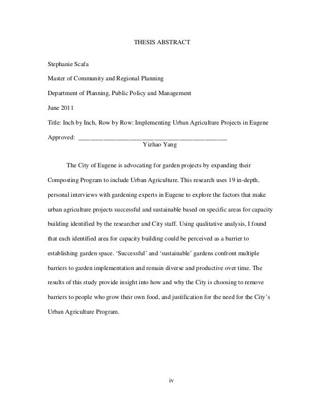 iv THESIS ABSTRACT Stephanie Scafa Master of Community and Regional Planning Department of Planning, Public Policy and Man...