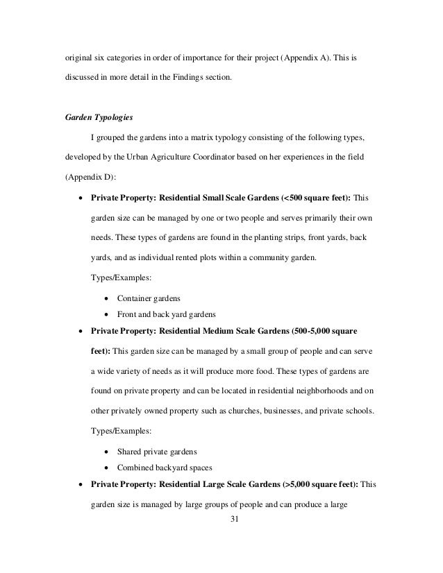 31 original six categories in order of importance for their project (Appendix A). This is discussed in more detail in the ...