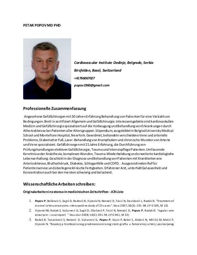 PETAR POPOV MD PHD Cardiovascular Institute Dedinje, Belgrade, Serbia Birsfelden, Basel, Switzerland +41766067027 popov196...