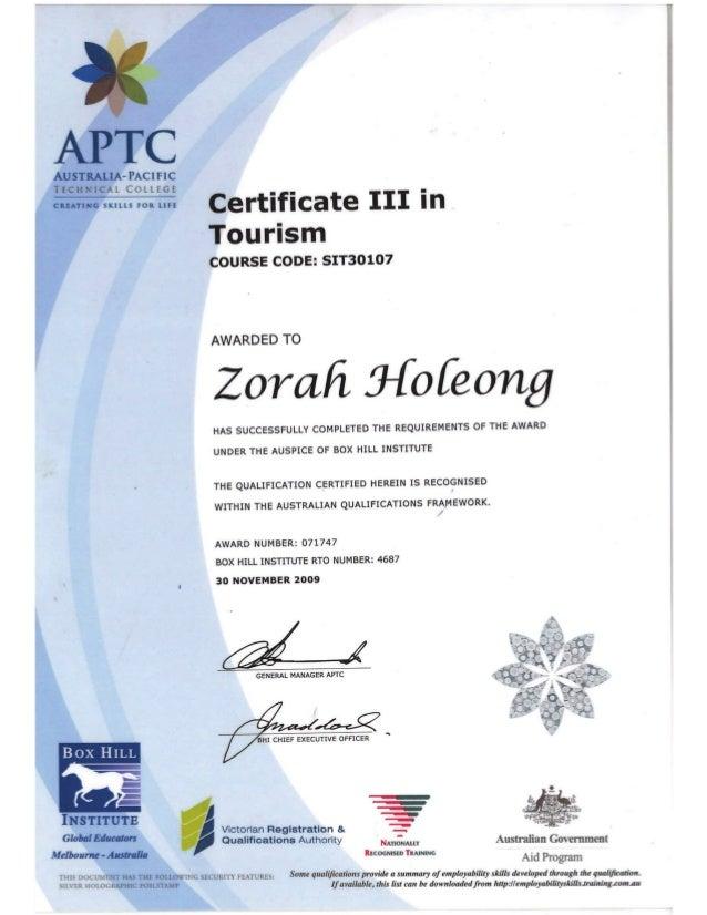 CERT03 -TOURISM APTC
