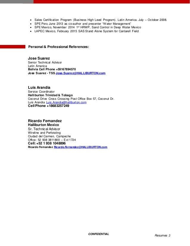3 confidential resumes - Halliburton Field Engineer Sample Resume