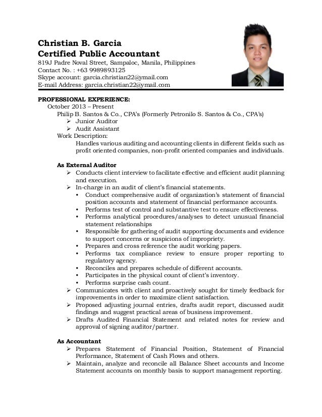 Christian B. Garcia Certified Public Accountant 819J Padre Noval Street,  Sampaloc, Manila, ...  Cpa On Resume