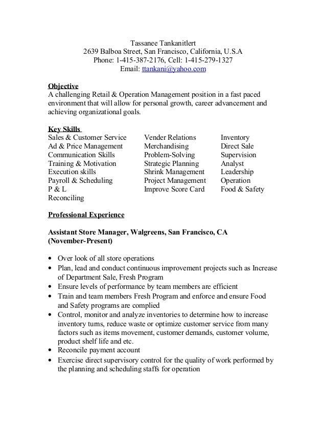 Superb Walgreens Resume Resume CV Cover Letter